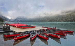 Картинка Alberta, Lake Louise, Canada, Red Canoes
