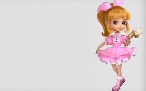 Картинка арт, мороженое, девочка, бантик, платишко, dragon jiang, A little girl
