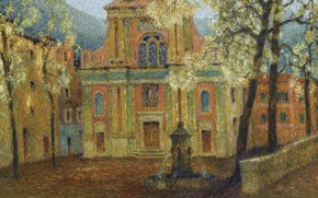 Картинка дома, картина, фонтан, городской пейзаж, Henri Le Sedaner, Анри Ле Сиданэ, Церковь Дольчеаккуа