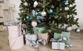 Картинка праздник, игрушки, елка, новый год, подарки