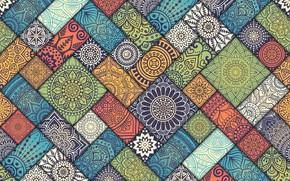 Обои Colorful, pattern, Vintage, tiles, floral, diagonal