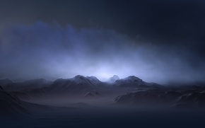 Обои mist, glow, Hasse Froom, mountains, fog, пелена, вершины, terrain, peaks, фон, снег, haze, background, пики, ...