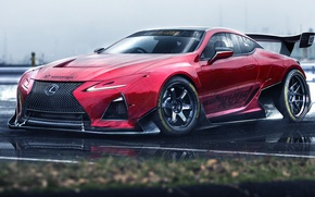 Картинка car, Lexus, red, logo, race, speed, asphalt, fast, Lexus LC 500