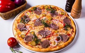 Картинка сыр, лук, мясо, перец, пицца, помидоры, огурцы