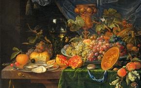 Обои масло, картина, Натюрморт с Фруктами и Устрицами, Абрахам Миньон, холст
