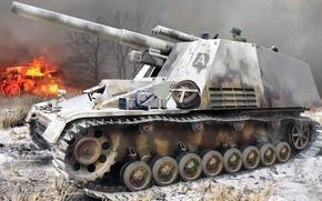 Картинка шмель, Hummel, 15 cm Schwere Panzerhaubitze auf Geschützwagen, немецкая самоходная гаубица калибра 150 мм