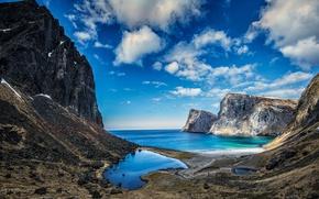 Обои облака, скалы, Vestervika, Исландия, горы, Lofoten, море
