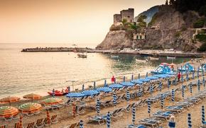 Обои landscape, Italy, скалы, travel, Monterosso al Mare, море, пляж, Liguria, берег, Италия