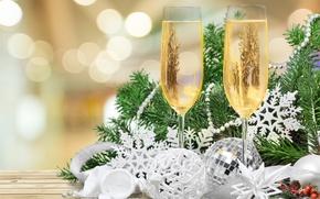Картинка елка, Новый Год, бокалы, Рождество, new year, happy, decoration, champagne