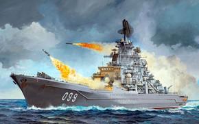Обои ТАРКР, третьего поколения проекта 1144 «Орлан», Флагманский корабль Северного флота России, тяжёлый атомный ракетный крейсер, ...