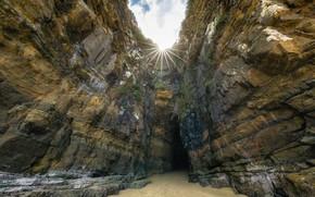 Картинка лучи, Солнце, Новая Зеландия, пещера, The Cathedral Caves