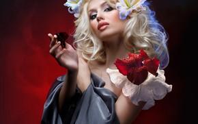 Обои цветы, поза, фон, бабочка, лилии, макияж, прическа, блондинка, красные, красотка, белые