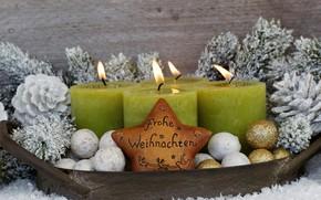 Картинка праздник, новый год, свечи, декор