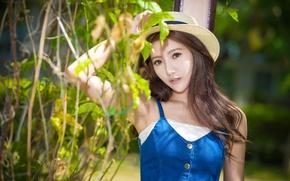 Картинка взгляд, девушка, волосы, шляпа, азиатка