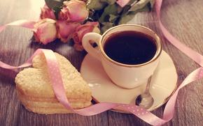 Картинка праздник, сердце, кофе, розы, печенье, ложка, лента, чашка, день святого валентина