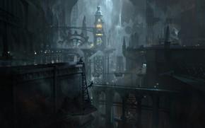 Картинка мост, здания, механизмы, undercity