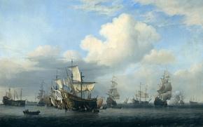 Картинка масло, картина, холст, Виллем ван де Велде Младший, Захваченные Корабли После Четырёхдневного Сражения