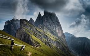 Картинка небо, горы, забор