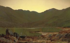 Обои пейзаж, птица, Джон Эткинсон Гримшоу, озеро, горы, John Atkinson Grimshaw, Любимое Место Цапли, картина