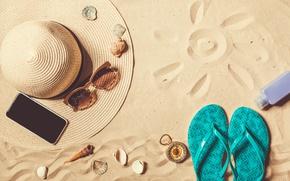 Картинка песок, море, пляж, солнце, шляпа, очки, summer, beach, sand, сланцы, vacation