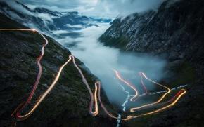 Обои выдержка, облака, дорога, туман, горы, свет