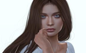 Картинка взгляд, девушка, волосы