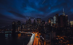 Картинка New York, небоскребы, Бруклинский мост, usa, огни ночного города, набережная