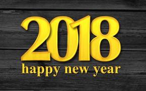 Обои число, цифры, праздник, текст, С Новым Годом, 2018