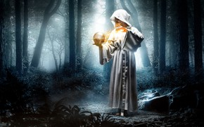 Обои лес, фантазия, девушка, шар, ситуация, капюшон, магия, халат, волшебство