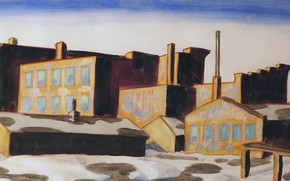 Картинка 1920, Charles Ephraim Burchfield, Factories, Red Buildings