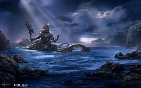 Картинка game, sea, weapon, God of War, Neptune, god, God of War Ascension, official wallpaper, Poseidon, …