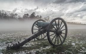 Картинка поле, туман, пушка
