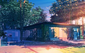 Картинка лес, фонарь, строение, Everlasting Summer, Summer camp