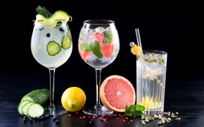 Картинка лимон, лёд, огурец, бокалы, фрукты, орехи, напитки, мята, коктейли, грейпфрут, специи