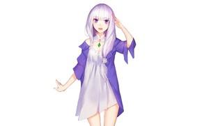 Картинка девушка, арт, белый фон, Re: Zero kara Hajimeru Isekai Seikatsu