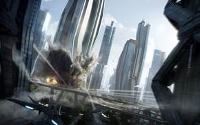 Картинка взрыв, город, Power Diving