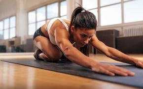 Обои Fitness, brunette, elongation exercises, floor