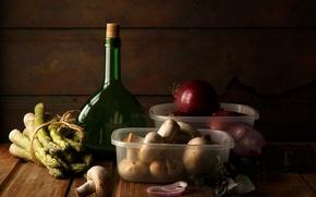 Картинка грибы, бутылка, масло, лук, натюрморт