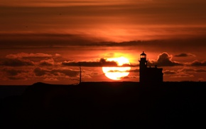 Картинка солнце, закат, маяк, силуэт