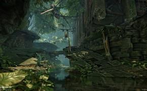 Картинка скалы, канал, вертолёт, Financial District, Crysis 3 MP