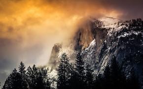 Обои горы, туман, облако