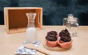 Картинка бутылка, шоколад, молоко, крем, десерт, выпечка, кексы