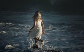 Картинка волны, брызги, девочка, Dark Ocean