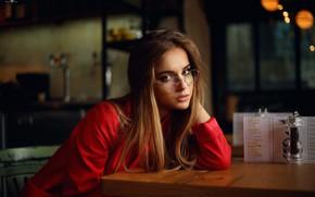 Обои Лиза, прелесть, губки, Dmitry Arhar, очки