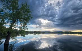 Картинка Небо, Отражение, Озеро