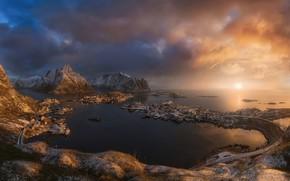 Картинка море, острова, свет, снег, горы, скалы, Норвегия, поселок, Скандинавия, Лофотенские острова, Норвежское море, Хамнёй