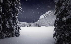 Картинка зима, снег, дом