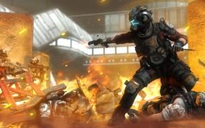 Картинка рендеринг, огонь, война, солдаты, шлем, pilot, Titanfall 2, Jack Cooper