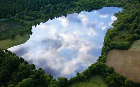 Картинка лес, озеро, отражение, Овернь, Пюи-де-Дом, Франция., Региональный природный парк вулканов