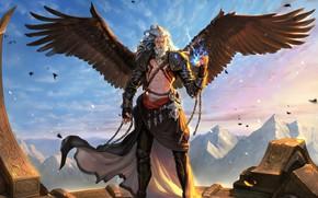 Обои крылья, воин, арт, fantasy, цепи, пленник, zeus, Daejun Park (Gae Go)